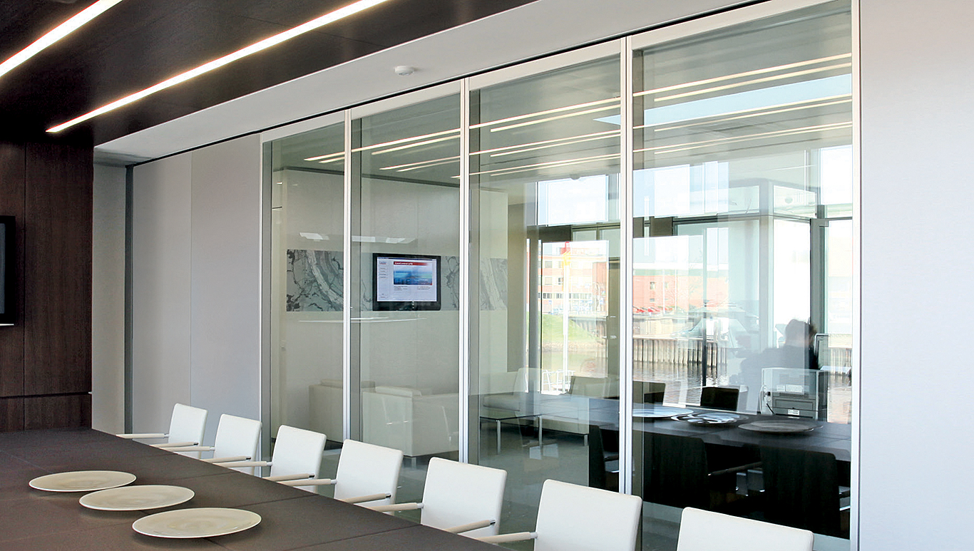 Office front glass walls framed fixed glass Interior glass partition systems
