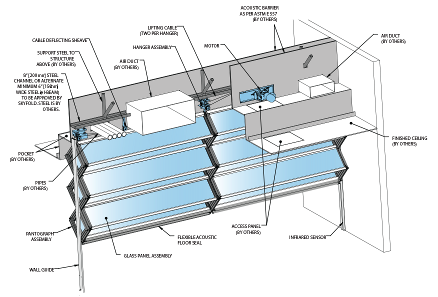 Skyfold Mirage Interior Glass Acoustic Wall diagram