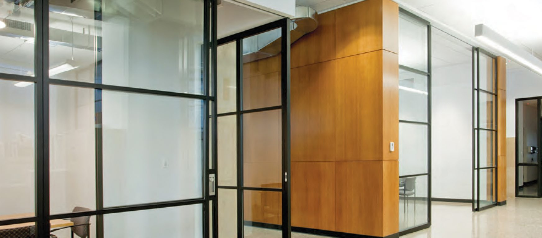 PK-30 Dark Framed Sliding Fixed Glass Doors