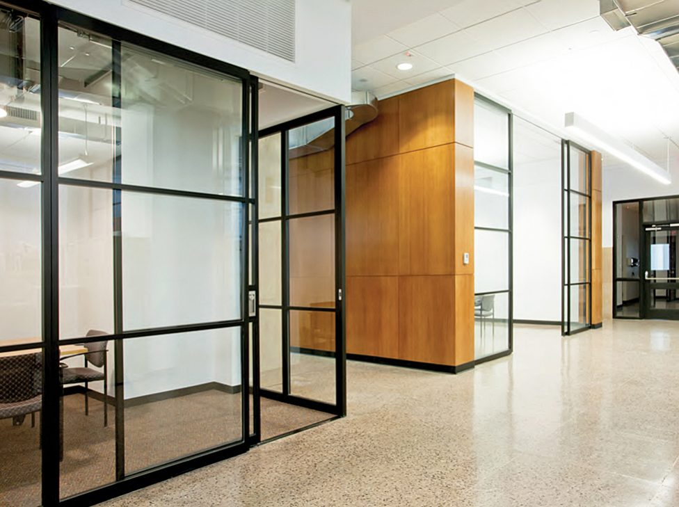 Pk 30 light and dark framed glass wall system by for Glass walls and doors