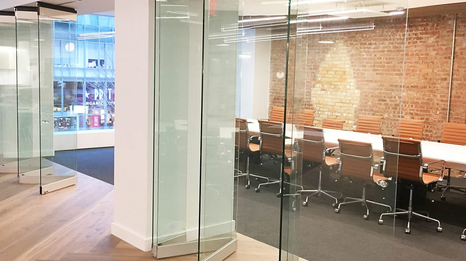Operable partitions office front glass walls for Sliding glass doors nyc