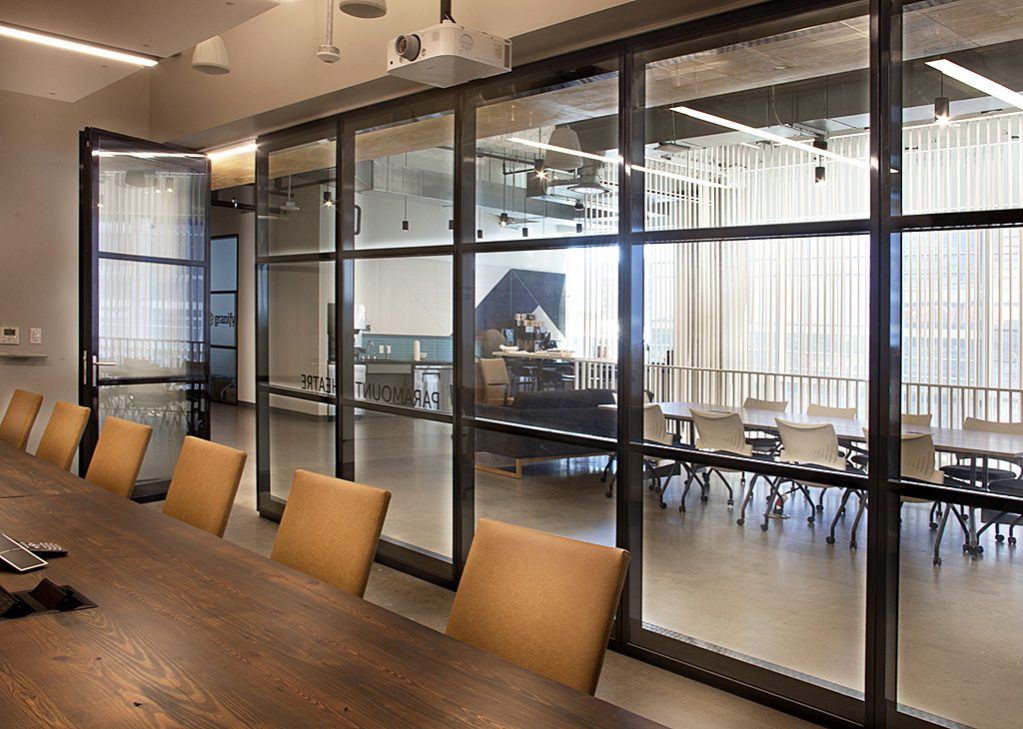 modernfold acousti-clear automatic demountable glass partitions