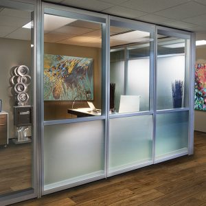 Modernfold Acousti-Clear demountable glass walls