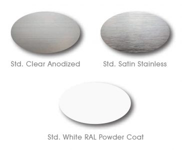 Acousti-Clear Standard Rail Finish Options
