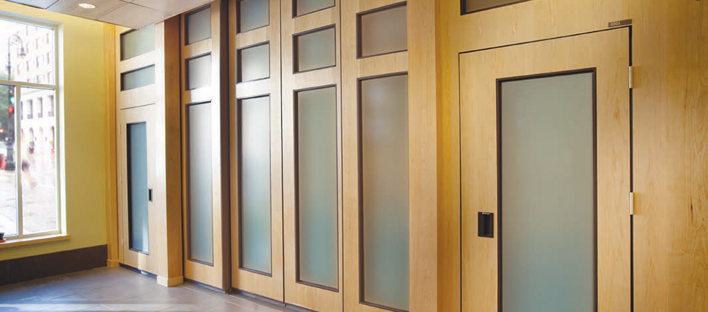 Modernfold Acousti-Seal panels with glass inserts