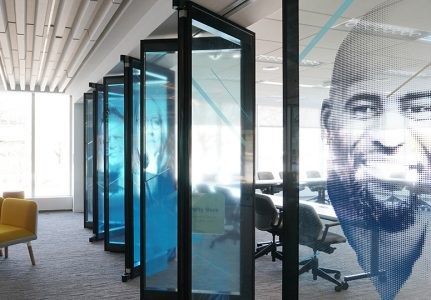 Acousti-Clear folding glass walls