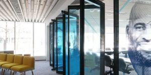 Acousti-Clear folding glass walls