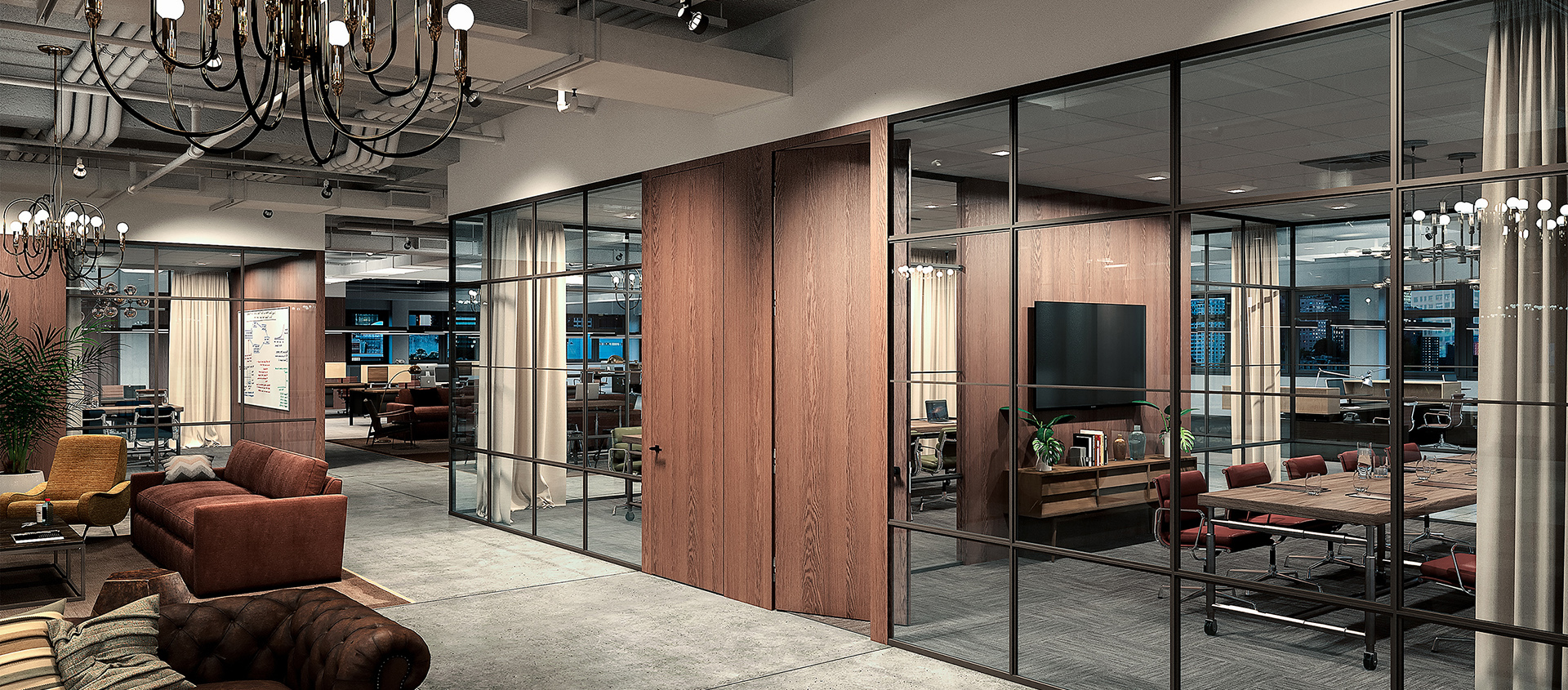 Fimo dark framed glass walls with wood framed doors