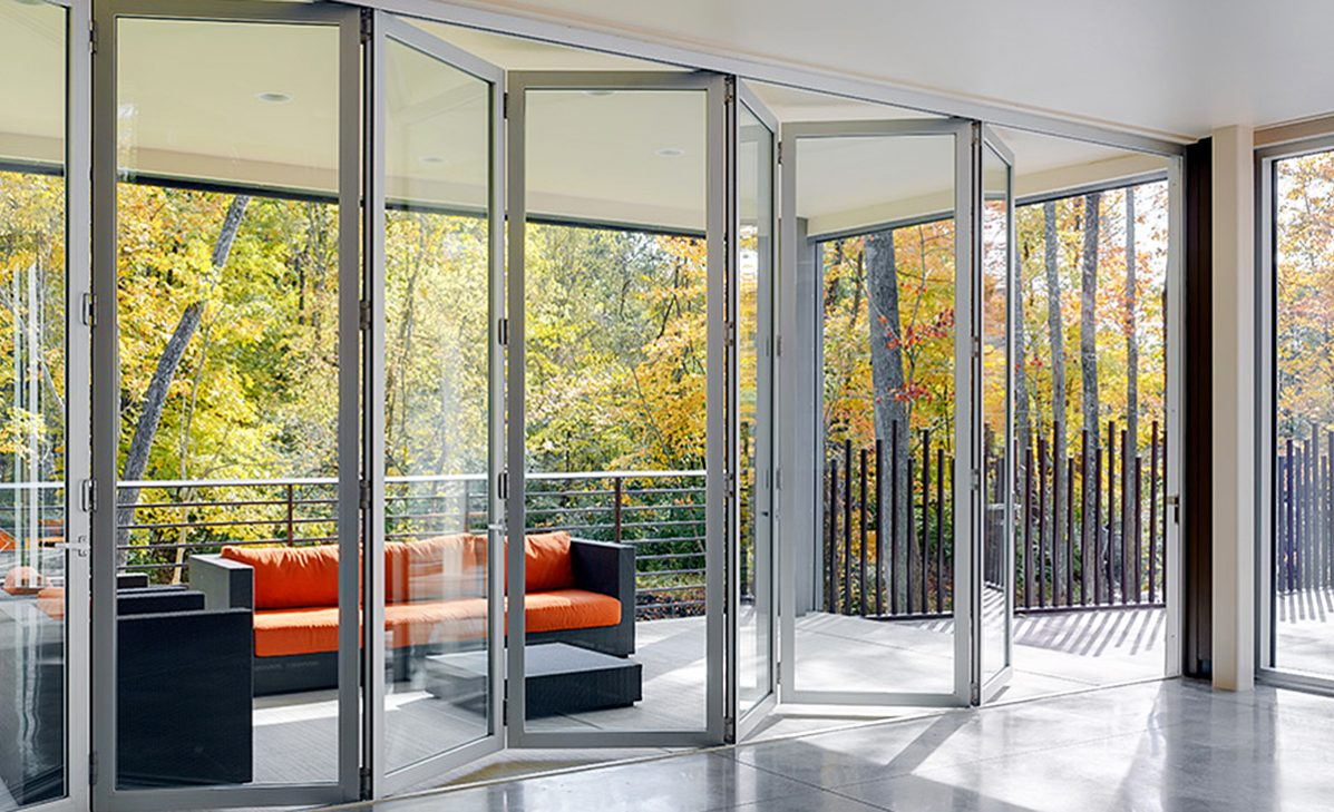 Lacantina aluminum system by modernfoldstyles for Retractable glass doors