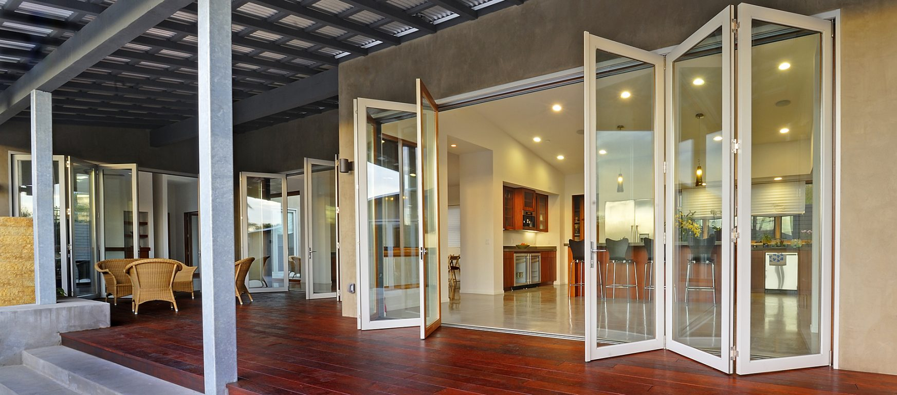 LaCantina Aluminum Wood Folding Glass Doors