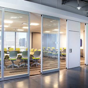 Modernfold Acousti-Clear conference room glass wall