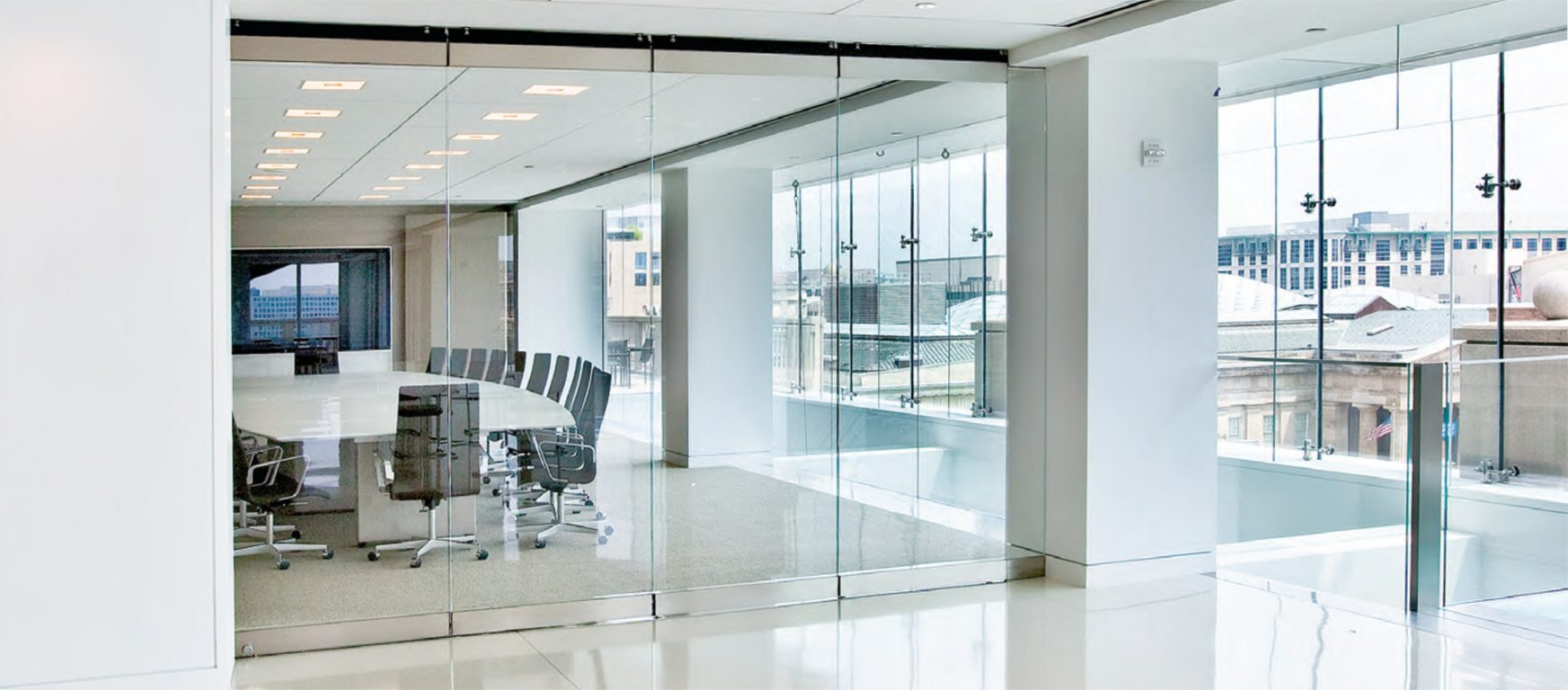 Modernfold Compactline moveable glass walls