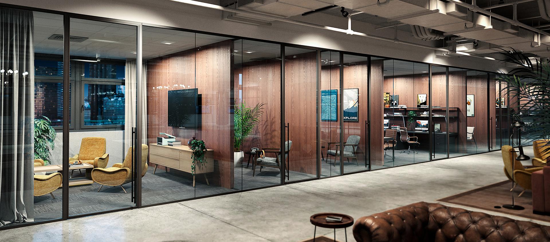 Modernus dark framed glass walls