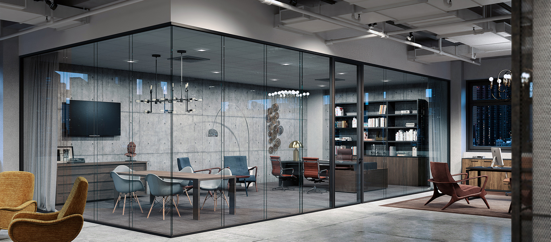 Modernus lama glass walls