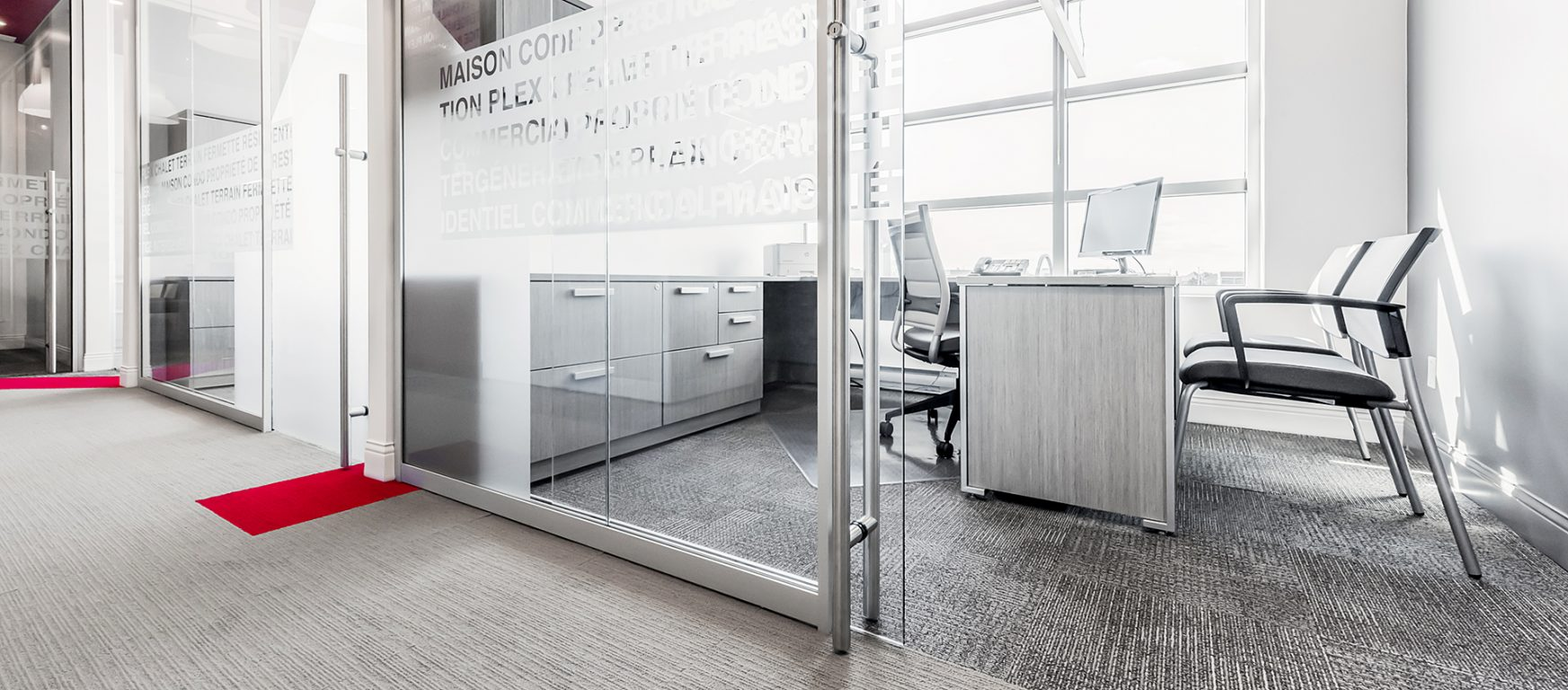 Operable partitions office front glass walls for Office front door design