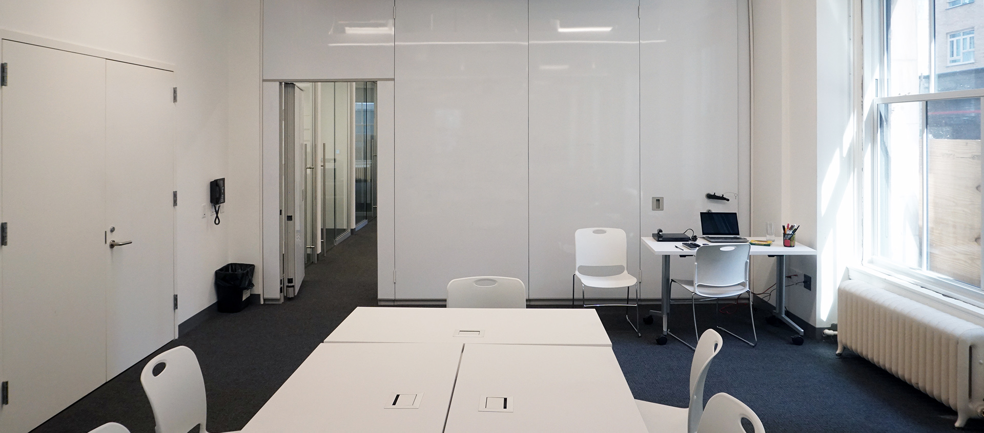 Encore Acoustic walls with floor to ceiling markerboard