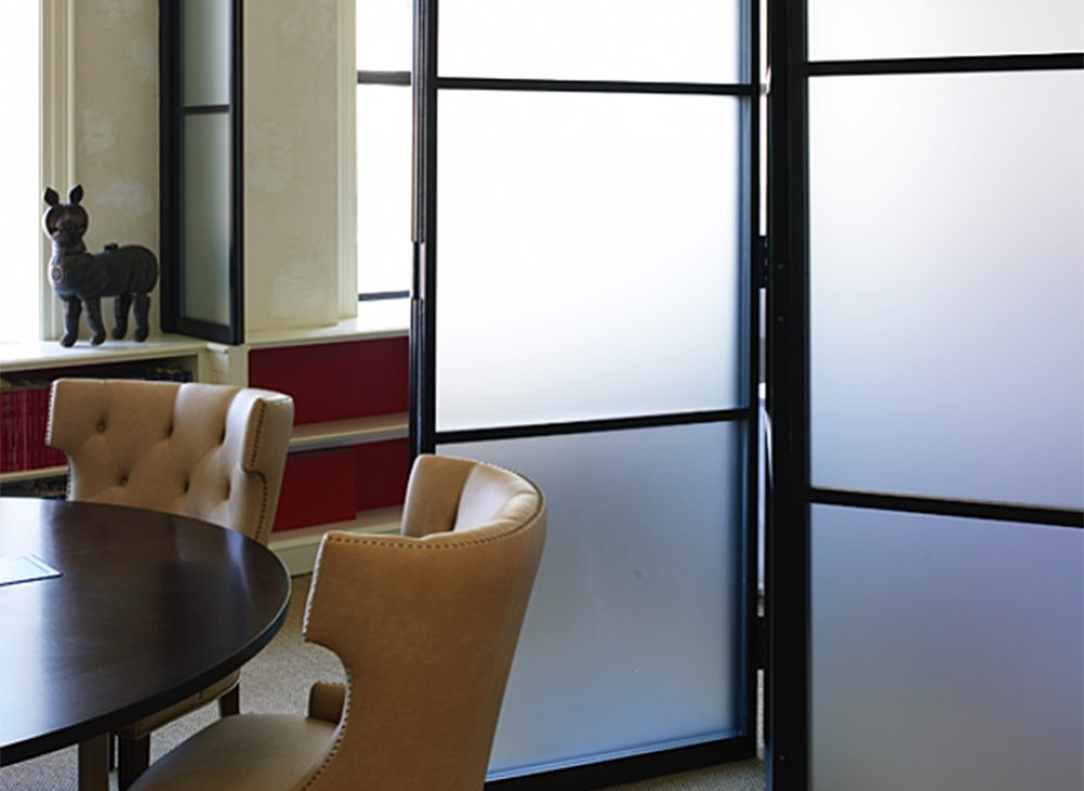 pk-30 dark framed glass doors
