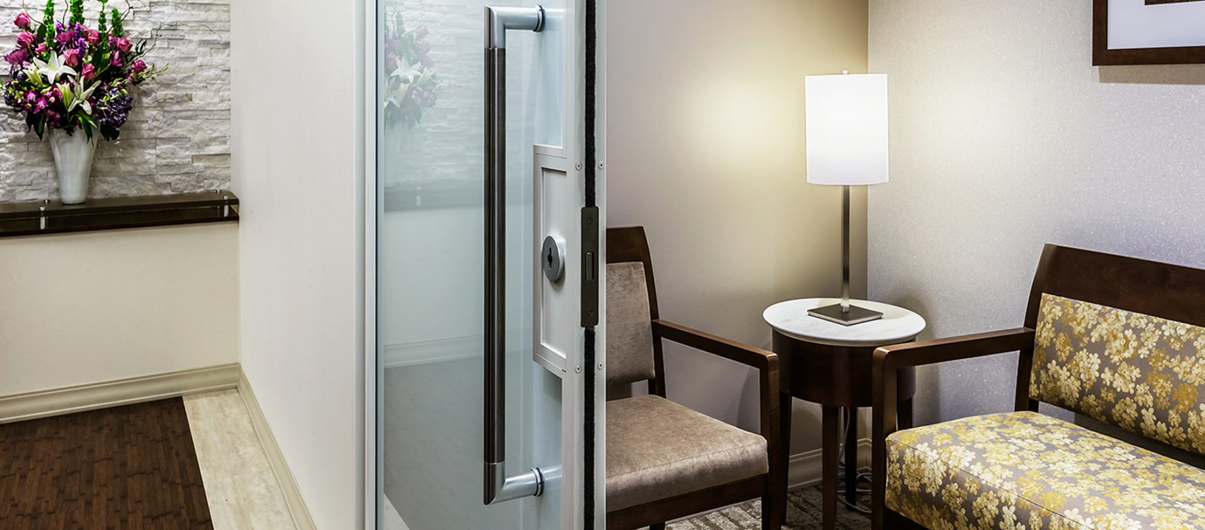 PK-30 Frosted Sliding glass doors with FSB lock