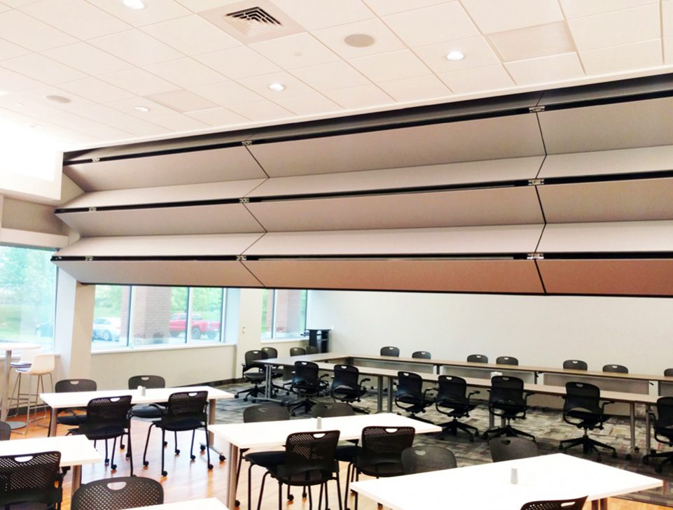 Skyfold Classic 55 STC vertical retractable folding acoustic wall