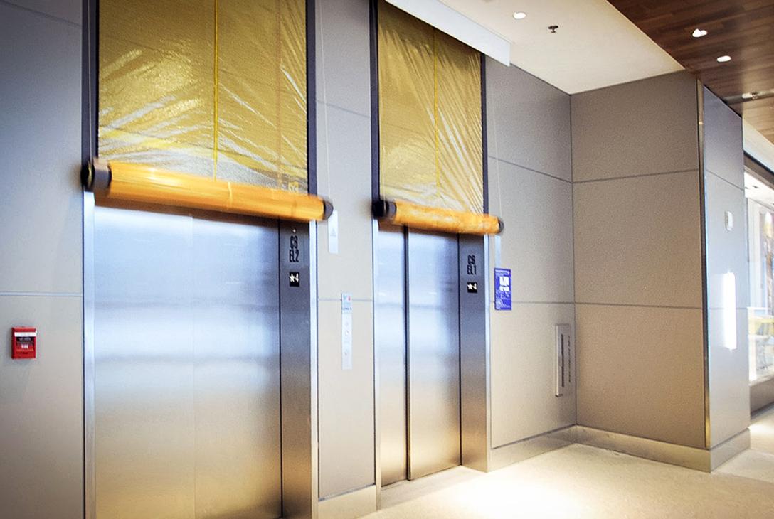 In Iowa, they have hinged doors in front of their elevator ...  |Elevator Fire Door