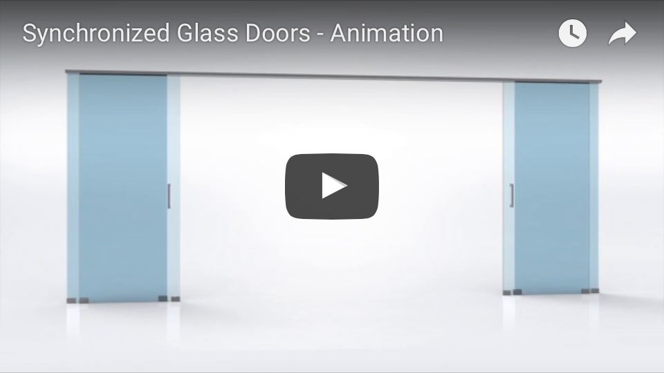 synchronized telescopic glass door animation